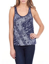 William Rast Bandana Print Tank Top Indigo