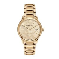Burberry 40Mm Classic Round Bracelet Watch W Check Dial Golden