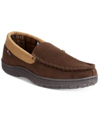32 Degrees Men's Venetian Faux Suede And Memory Foam Moccasin Slippers Brown