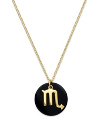 Studio Silver Scorpio Zodiac And Black Disc Pendant Necklace In 18K Gold Over Sterling Silver