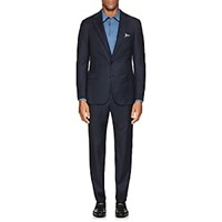 Cifonelli Plaid Wool Two Button Suit Navy
