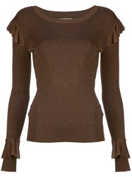 Alice Olivia Ruffle Detail Sweater Brown
