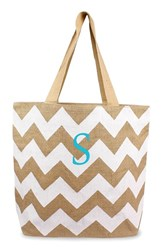 Cathy's Concepts Personalized Chevron Print Jute Tote White White Natural S