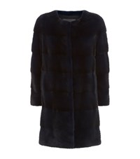 Lilly E Violetta Long Mink Fur Coat Navy