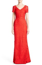 St. John Women's Collection Embroidered Lace Gown
