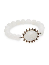 Bavna Rainbow Moonstone Champagne Diamond And Sterling Silver Beaded Sunburst Bracelet White