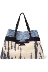 Jerome Dreyfuss Maurice Tie Dye Leather And Printed Suede Tote Blue