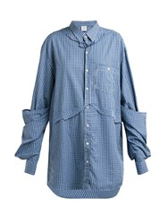 Vetements Oversized Checked Cotton Shirt Blue