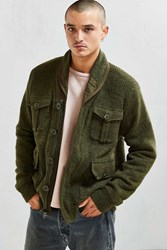 Schott Sherpa Lined Military Cardigan Olive