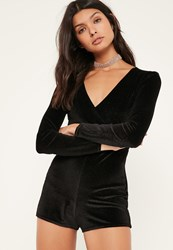 Missguided Petite Exclusive Black Glitter Velvet Playsuit