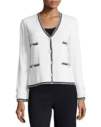 St. John Fringe Trimmed V Neck Jacket Bright White