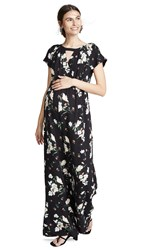Ingrid And Isabel Adjustable Waist Jumpsuit Black Artist Floral