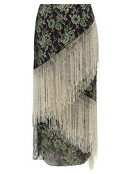 Romance Was Born Stardust Beaded Fringe Metallic Lace Skirt Green Multi
