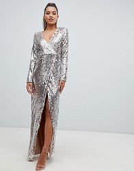 Club L Fully Embellished Sequin Wrap Front Maxi Dress Gold