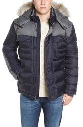 Psycho Bunny Men's Parks Genuine Coyote Fur Trim Down Jacket