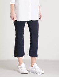 Izzue Striped Panel Cropped Woven Trousers Navy