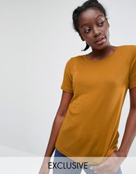 Monki Ribbed T Shirt Mustard Orange