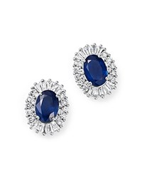 Bloomingdale's Sapphire Oval And Diamond Stud Earrings In 14K White Gold