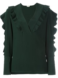 Fendi Ruffle Detail Blouse Green