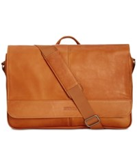 Kenneth Cole Reaction Colombian Leather Computer Messenger Bag Cognac