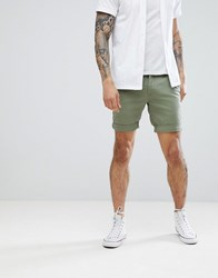 Tommy Jeans Freddy Basic Straight Fit Chino Shorts In Green Deep Lichen