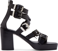 Cnc Costume National Black Leather Buckle Sandals