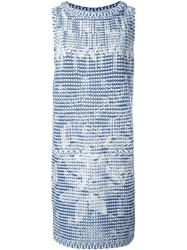 Chanel Vintage Geometric Print Knitted Dress Blue