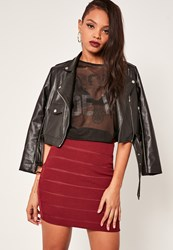 Missguided Burgundy Mesh Insert Bandage Mini Skirt