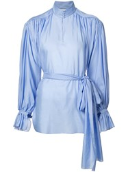 Vika Gazinskaya High Neck Gathered Blouse Women Cotton 38 Blue