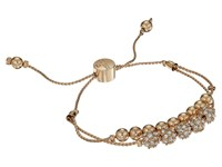 Guess Double Row Round Bead And Fireball Slider Bracelet Gold Crystal Bracelet