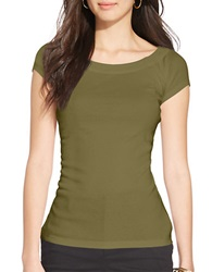 Lauren Ralph Lauren Cotton Ballet Neck Shirt Olive Marsh