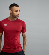 Canterbury Of New Zealand Vapordri T Shirt In Burgundy Exclusive To Asos Red