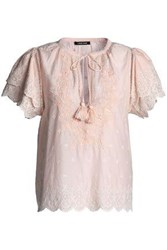 Love Sam Tasseled Broderie Anglaise Cotton Top Blush