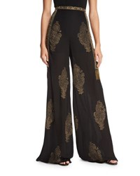 Haute Hippie Fernweh Silk Paisley Wide Leg Pants Black