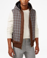 Sean John Men's Quilted Check Print Hooded Vest Medium Grey Heather