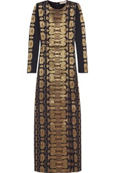 Tory Burch Metallic Jacquard Gown