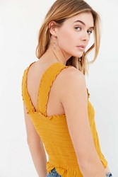 Ecote Smocked Y Back Tank Top Gold