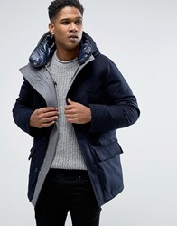 Celio Paded Parka With High Neck Detail In Wool Mix Marine Navy