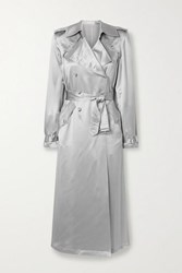 Fleur Du Mal Double Breasted Silk Satin Trench Coat Platinum