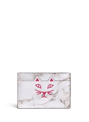 Charlotte Olympia 'Feline' Cat Face Marble Print Leather Card Holder White