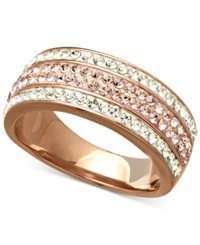 Kaleidoscope Rose And White Swarovski Crystal Ring In 18K Rose Gold Plated Sterling Silver 1 Ct. T.W.