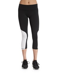 Heroine Sport Colorblock Cycling Capri Pants White Black White W Black