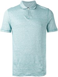 Michael Kors Classic Polo Top Men Cotton Linen Flax S Blue