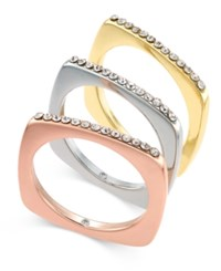 Inc International Concepts Tri Tone 3 Pc. Set Crystal Studded Stack Rings Only At Macy's Tri Tone