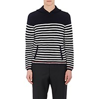 Thom Browne Men's Rib Knit Hoodie Navy