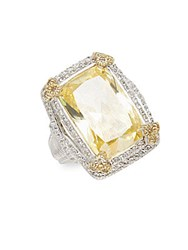 Judith Ripka Monaco White Sapphire Canary Crystal And Sterling Silver Ring