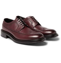O'keeffe Milo Pebble Grain Leather Longwing Brogues Burgundy