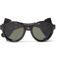 Moncler Round Frame Leather Trimmed Acetate Polarised Sunglasses Black