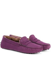 Tod's Exclusive To Mytheresa.Com Gommino Suede Loafers Purple