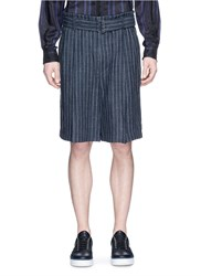 3.1 Phillip Lim Belted Pinstripe Pleat Burlap Shorts Blue